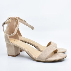 Beige Faux Suede Ankle Strap Block Heel Sandals